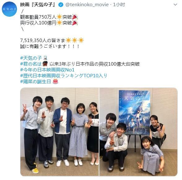 新海诚《天气之子》票房破100亿日元 再创日本影史辉煌-亲亲动漫网
